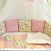 Грызунки ручной работы. Ярмарка Мастеров - ручная работа Бортики-подушки в детскую кроватку для новорожденных. Handmade.