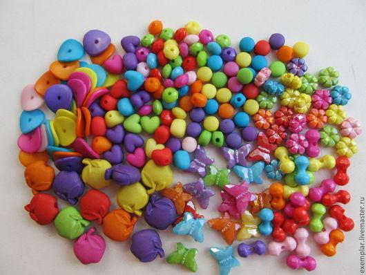 Бусины пластиковые однотонные.\r\nПри выборе цвета цена возрастает на 20%. \r\nВ наборе цвета микс.