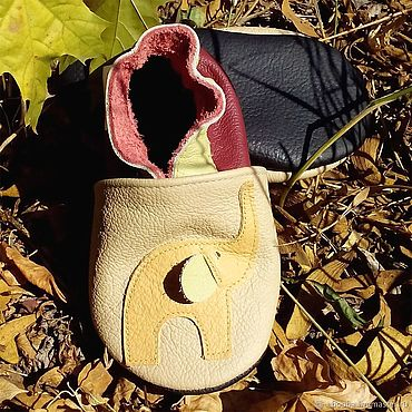 Footwear handmade. Livemaster - original item Elephant Baby Shoes, Leather Baby Slippers, Soft sole baby shoes. Handmade.