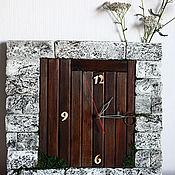 Для дома и интерьера handmade. Livemaster - original item A wall clock made of artificial stone and wood Door to other worlds. Handmade.
