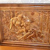 """Панно ручной работы. Ярмарка Мастеров - ручная работа Резное панно из дерева """"Охота"""". Handmade."""