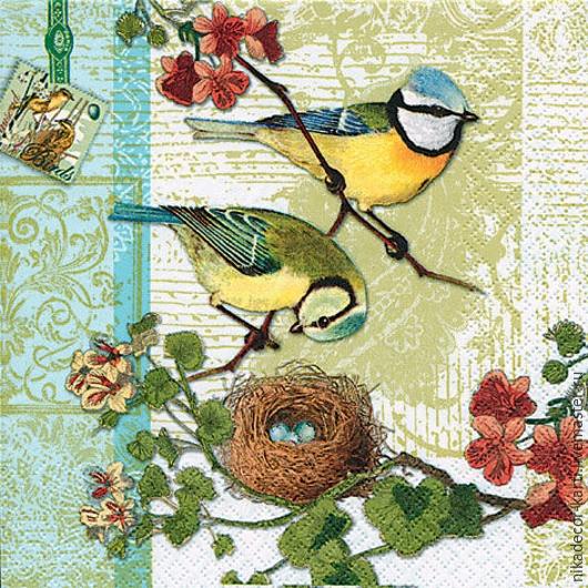 Декупаж и роспись ручной работы. Ярмарка Мастеров - ручная работа. Купить Птичья семья (211303) - салфетка для декупажа. Handmade. Разноцветный