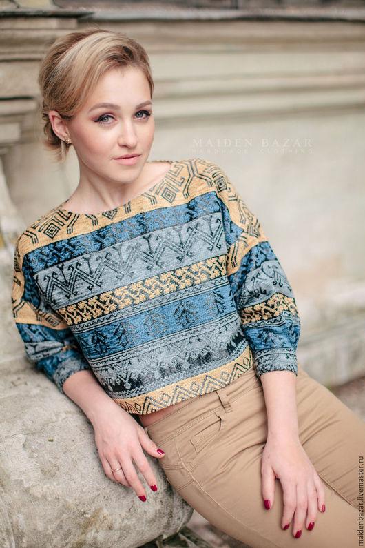 Блузки ручной работы. Ярмарка Мастеров - ручная работа. Купить Пуловер с орнаментом.. Handmade. Комбинированный, женская одежда, свободный силуэт