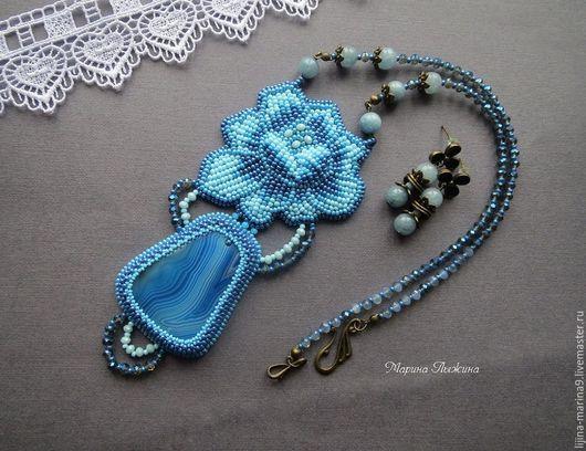 Комплекты украшений ручной работы. Ярмарка Мастеров - ручная работа. Купить Комплект «Голубой цветок» (кулон + серьги). Handmade.