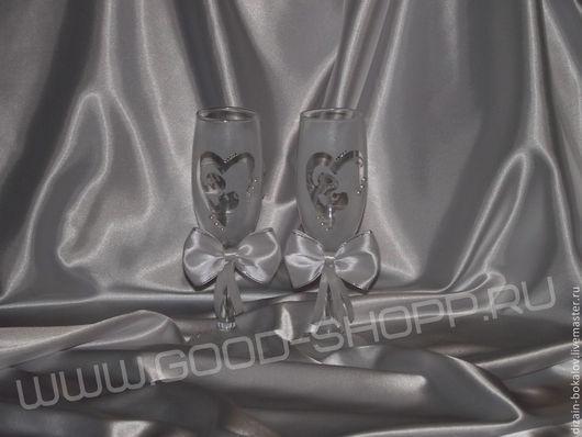 """Свадебные аксессуары ручной работы. Ярмарка Мастеров - ручная работа. Купить Свадебные бокалы """"Белоснежные"""". Handmade. Белый, бокалы для молодоженов"""