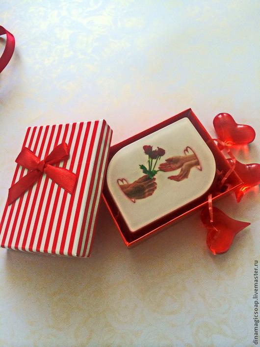 Мыло ручной работы. Ярмарка Мастеров - ручная работа. Купить Мыло для влюбленных в подарочной упаковке. Handmade. Ярко-красный