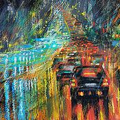 Картины и панно handmade. Livemaster - original item Painting pastel Rain in the night city. Handmade.