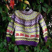 Работы для детей, ручной работы. Ярмарка Мастеров - ручная работа Жаккардовый пуловер спицами с машинами.. Handmade.