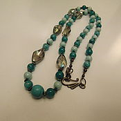 Украшения handmade. Livemaster - original item Long necklace made of natural stones of amazonite and hematite. Handmade.