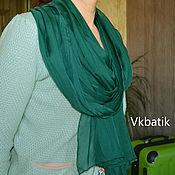 Аксессуары ручной работы. Ярмарка Мастеров - ручная работа Зелёный шёлковый шарфик. Handmade.