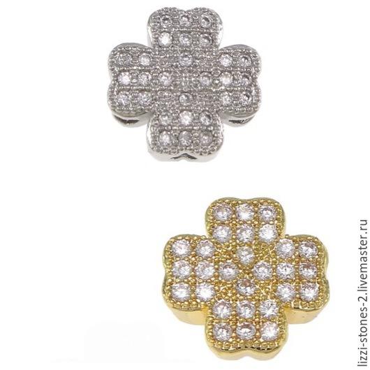 Бусина клевер серебро и золото 11 мм Евгения (Lizzi-stones-2)