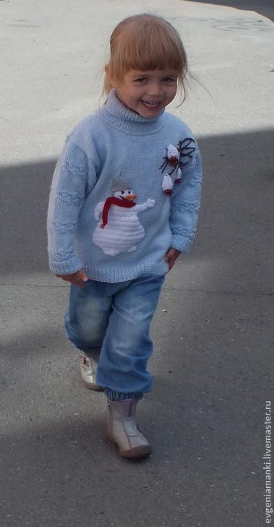 Одежда для девочек, ручной работы. Ярмарка Мастеров - ручная работа. Купить свитер с горлом Снеговик-лакомка вязаный авторский детский для девочки. Handmade.