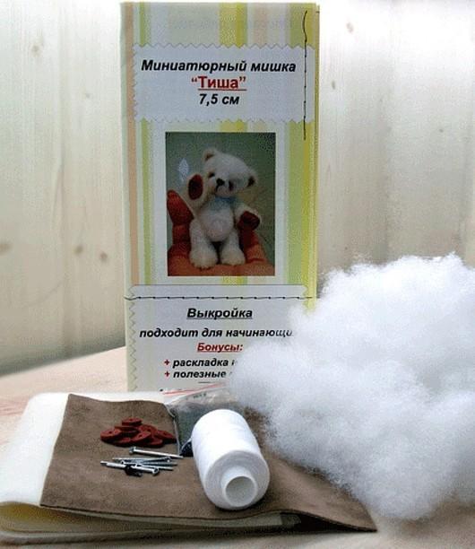 """Куклы и игрушки ручной работы. Ярмарка Мастеров - ручная работа. Купить Набор """"Миниатюрный мишка Тиша"""". Handmade. Мини мишки"""