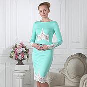 Одежда ручной работы. Ярмарка Мастеров - ручная работа 018:Платье вечернее с кружевом, платье футляр с кружевом коктейльное. Handmade.