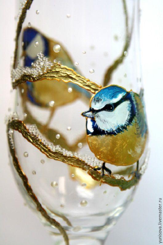 Бокалы, стаканы ручной работы. Ярмарка Мастеров - ручная работа. Купить Новогодние бокалы для шампанского. Handmade. Золотой, праздничный декор
