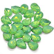 Стразы капля 18х13 мм зеленый опал прозрачнее(стекло,не покрытие)