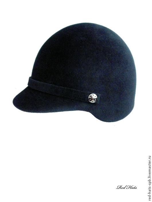 """Шляпы ручной работы. Ярмарка Мастеров - ручная работа. Купить Кепи """"Жокейка"""", фетр-велюр. Handmade. Черный, шляпка с созырьком"""