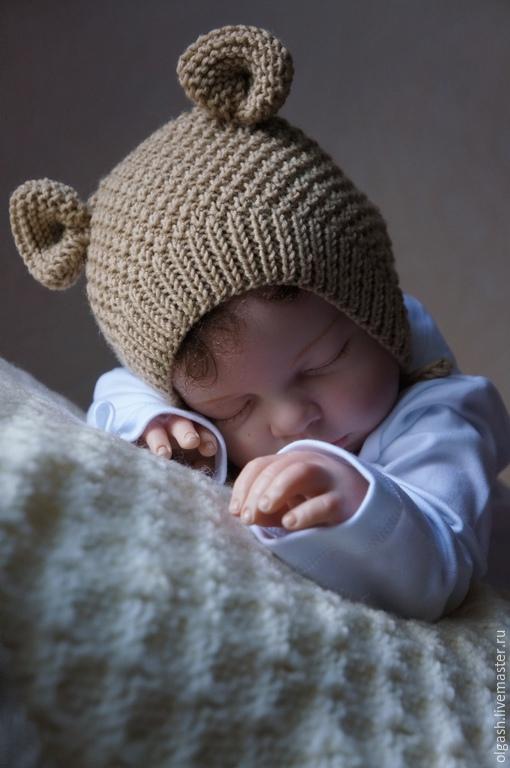 Вязание шапочки с ушками для новорожденного мальчика 81