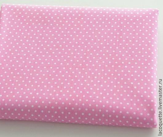 Шитье ручной работы. Ярмарка Мастеров - ручная работа. Купить Хлопок в горошек розовый Ткань для пэчворка. Handmade. Розовый