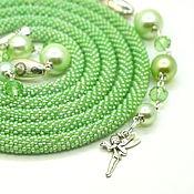 Украшения handmade. Livemaster - original item Lariat Forest fairy Green embellishment beaded. Handmade.