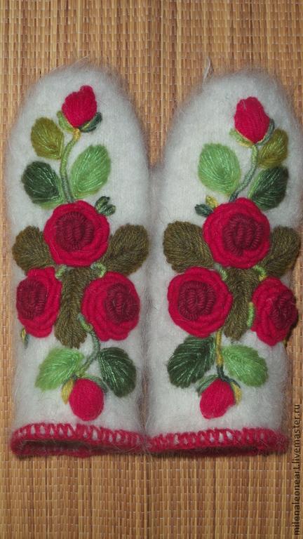 Варежки, митенки, перчатки ручной работы. Ярмарка Мастеров - ручная работа. Купить Варежки с вышивкой Красные розы рококо. Handmade.