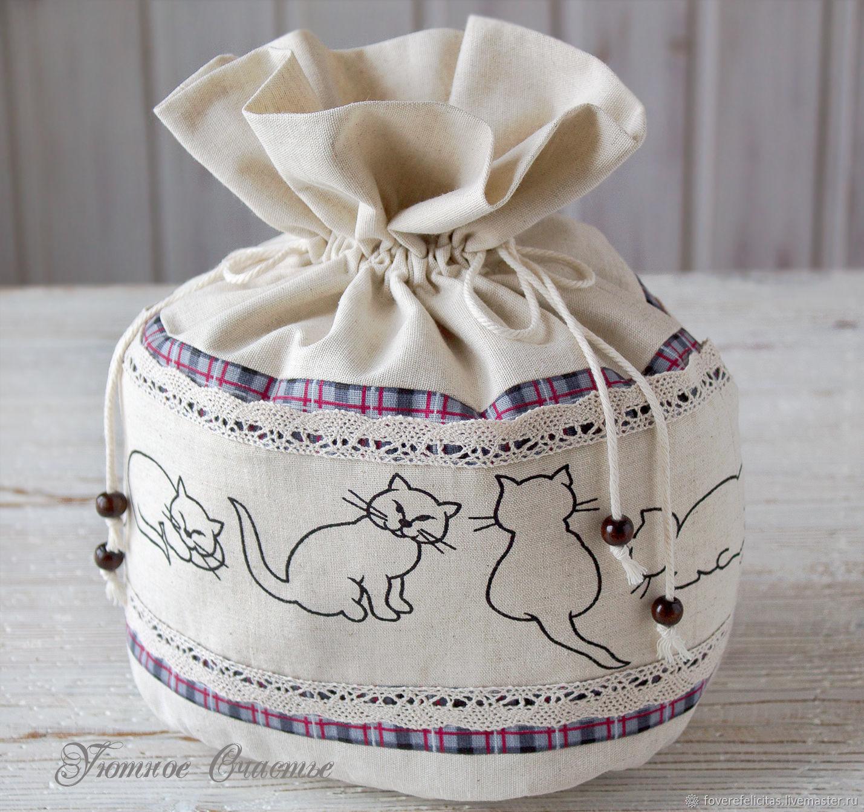 """Мешочек для хранения хлеба из льна """"Кошки"""", Мешочки, Канск,  Фото №1"""
