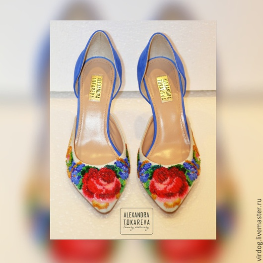 Обувь ручной работы. Ярмарка Мастеров - ручная работа. Купить Эксклюзивные туфли ручной работы вышитые бисером « Еlegant flowers». Handmade.