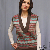 Одежда handmade. Livemaster - original item Women`s knitted vest with Norway pattern Norwegian wood, Alpaca. Handmade.