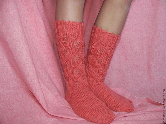 Носки, Чулки ручной работы. Ярмарка Мастеров - ручная работа. Купить Носочки. Handmade. Бледно-розовый, гольфы вязаные