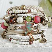 Украшения handmade. Livemaster - original item Leather, wide, multi-row bracelet