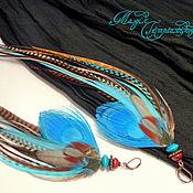 Украшения handmade. Livemaster - original item Brown blue earrings with a large blue peacock feather. Handmade.