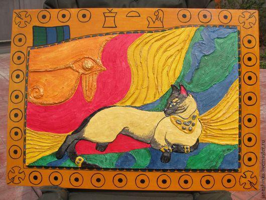 Абстракция ручной работы. Ярмарка Мастеров - ручная работа. Купить Бастет Египетская кошка декоративная штукатурка. Handmade. Египетский стиль