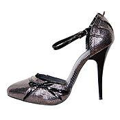Винтаж handmade. Livemaster - original item Silver dress shoes made of genuine leather-embossed Python. Handmade.