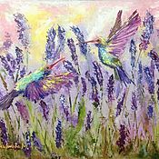 Картины и панно handmade. Livemaster - original item Oil painting / hardboard Hummingbird in lavender. Handmade.