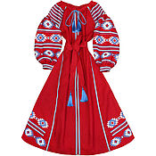 "Одежда handmade. Livemaster - original item Long dress with embroidery ""Fire Dance"". Handmade."
