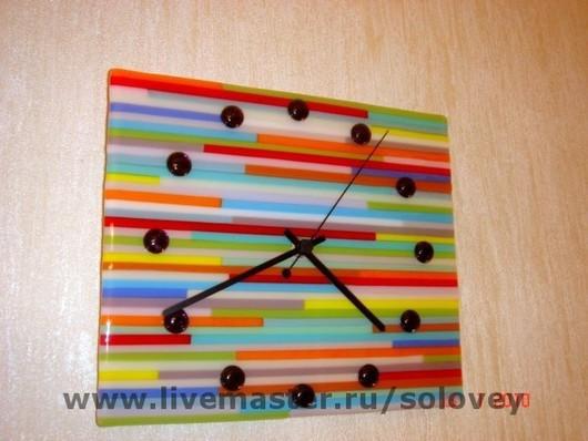 """Часы для дома ручной работы. Ярмарка Мастеров - ручная работа. Купить Часы """"Радуга"""". Handmade. Фьюзинг, подарки"""