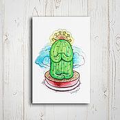 Открытки ручной работы. Ярмарка Мастеров - ручная работа Почтовая открытка - медитирующий кактус. Handmade.
