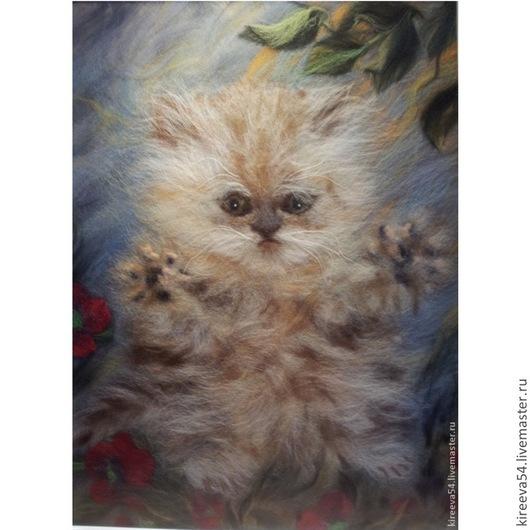 Животные ручной работы. Ярмарка Мастеров - ручная работа. Купить Картина из шерсти Васька. Handmade. Разноцветный, интерьерная картина