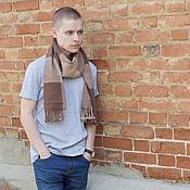 Аксессуары ручной работы. Ярмарка Мастеров - ручная работа Домотканый мужской шарф brown alpaca. Handmade.