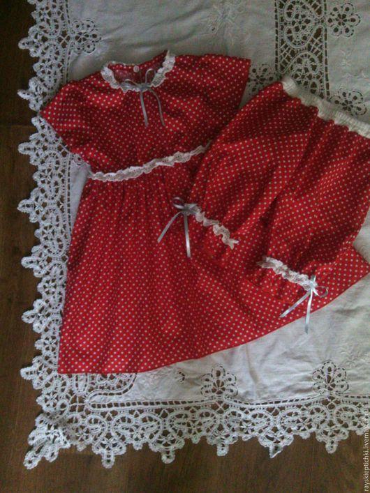 """Одежда для девочек, ручной работы. Ярмарка Мастеров - ручная работа. Купить """"Куколка"""" Платье и шортики для девочки. Handmade. Ярко-красный"""