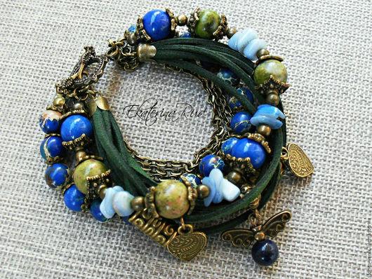 """Браслеты ручной работы. Ярмарка Мастеров - ручная работа. Купить Необычный браслет """"Влюбленная барышня"""" синий, изумрудный, болотный. Handmade."""