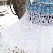 """Юбки ручной работы. Ярмарка Мастеров - ручная работа Юбка вязаная """"Снегурочка"""" ручная работа белый голубой. Handmade."""