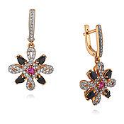Украшения handmade. Livemaster - original item 585 gold earrings with diamonds, rubies and sapphires. Handmade.