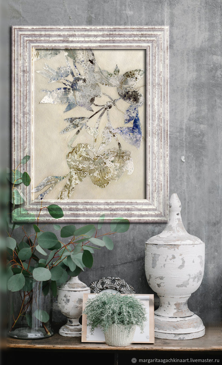 Silver Patterns 60h40 cm (blue, beige)painting, Pictures, Smolensk,  Фото №1