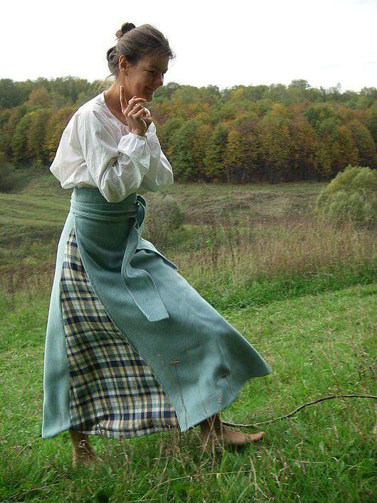 Юбки ручной работы. Ярмарка Мастеров - ручная работа. Купить Понева шерстяная (длинная юбка с запахом). Handmade. Понева