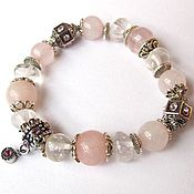 Украшения handmade. Livemaster - original item The G20 Bracelet with rose quartz and quartz. Handmade.