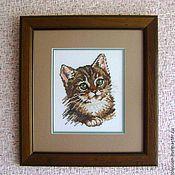 """Картины и панно ручной работы. Ярмарка Мастеров - ручная работа Вышитая картина""""Котенок"""". Handmade."""