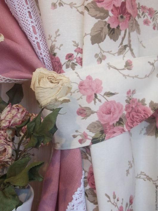 """Текстиль, ковры ручной работы. Ярмарка Мастеров - ручная работа. Купить Шторы""""О чём молчат розы...""""(шебби). Handmade. Розовый"""