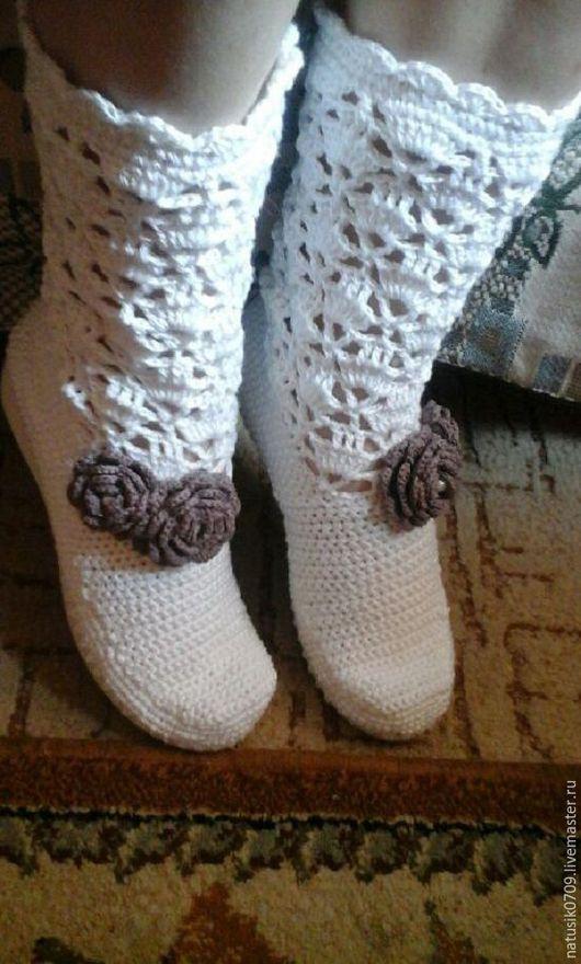Обувь ручной работы. Ярмарка Мастеров - ручная работа. Купить сапожки белоснежка. Handmade. Белый, Вязаные сапоги, хлопок 100%