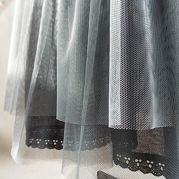 Одежда ручной работы. Ярмарка Мастеров - ручная работа Хлопковая нижняя  длинная юбка с оборками из сетки серого цвета. Handmade.